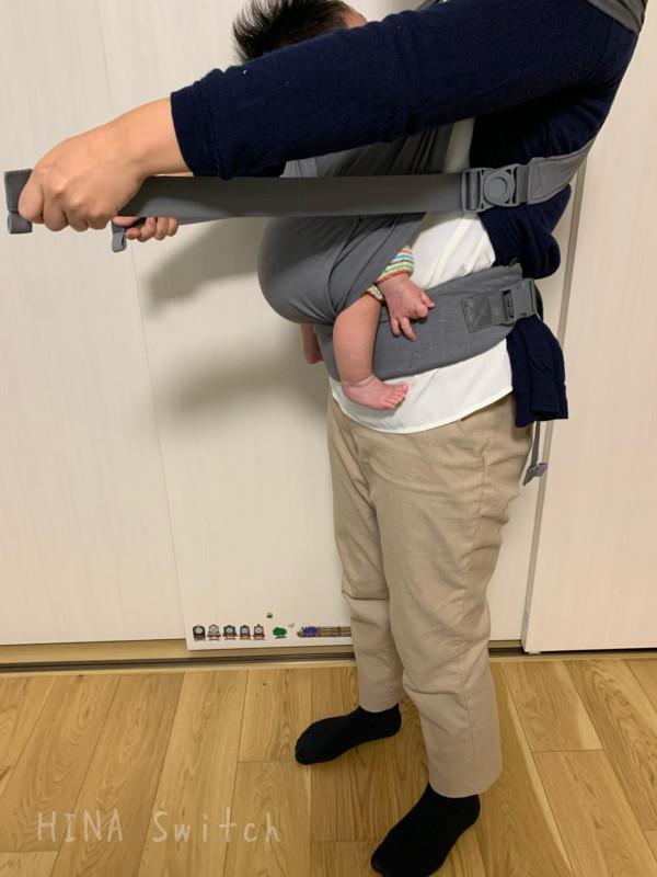 ポグネー ステップワン一体型 stepone 抱っこひも 使い方 着用画像
